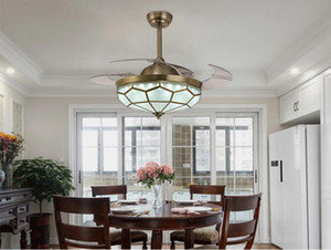 مصابيح LED كريستال أضواء مروحة الثريا غير مرئية نوم كريستال مروحة غرفة المعيشة أضواء مطعم الحديثة مروحة سقف + التحكم عن بعد
