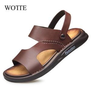 Wotte été Hommes Sandales en cuir Sandales hommes Mode confortables Loisirs Boucle Strap Chaussures de plage Sandales