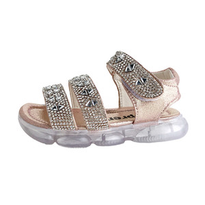 2020 New Kid Kız Sandalet Prenses Ayakkabı Moda Çocuk Sandalet Büyük Kız Bebek Sandalet Işık Ayakkabı 26-31 eur ile