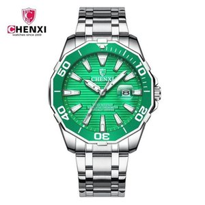 CHENXI Business Men Watch Silver Stainless Steel Black Casual Watch for Men Big Dial Waterproof High Quality Fashion Dress Wristwatch