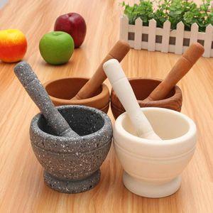 Spice Crusher Resin Bowl Mortar Pestle Spice Pepper Crusher Herbs Grinder Garlic Mixing Bowl Press Bowl Kitchen Tools