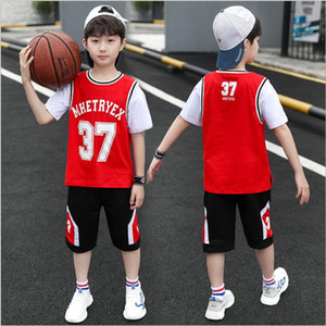 New boys' sports summer middle and big boys' summer clothes cool cotton children's clothes foreign style basketball suit