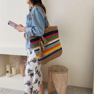 Women Handbag Summer Beach Bag Handmade Rattan Woven Knitted Rivets Large Capacity Totes Bohemia Straw Women Shoulder Bags New