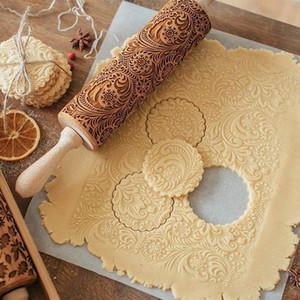 35 * 5cm de Natal Embossing Rolo biscoitos do cozimento do biscoito Fondant bolo Dough gravado russa de madeira rena Elk Snowflake