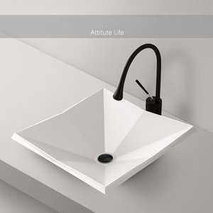 Banheiro Sinks geometria Vessel Ceramic Art Modern Black lavagem branca Bacia Bacia Com dreno macio mangueira para Lavatory