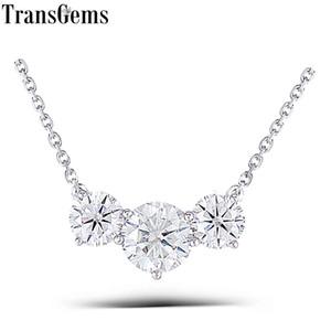 Transgems solides 18K 750 or blanc 2CTW FGH couleur Moissanite collier pendentif mariage anniversaire Cadeaux d'anniversaire d'or Collier