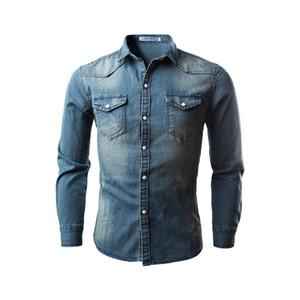 2020 Осень Джинсовая Рубашка Мужчины Хлопок Джинсы Рубашка Slim Fit С Длинным Рукавом Ковбойская Рубашка Стильная Стирка Топы Азиатские Плюс Размер