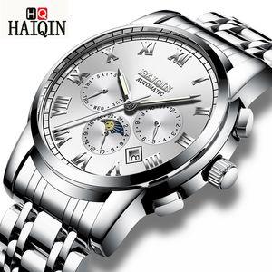 Haiqin Montres Homme Montre Homme New Fashion Moon Phase montre mécanique étanche Sport Horloge Relogio Masculino