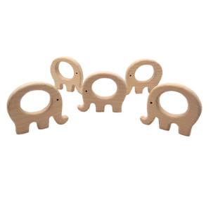 Buchenholz Fat Elefanten Beißring Tier geformt Baby-Beißringe Infants Greiflinge Babyzubehör für Baby-Halskette, die