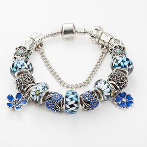 New charm high quality flower pendant beaded bracelet for Pandora jewelry DIY blue beaded pendant ladies bracelet with gift