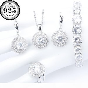 White Zirconia Silver 925 Bridal Jewelry Sets Women Bracelet Necklace Pendant Rings Earrings With Stones Set Jewelery Gift Box