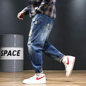 2020 Yaz Yeni Erkek Jeans Casual Erkek Harem Pantolon Erkekler Avrupa ve Amerika Gevşek Capris Moda Delikler Jeans 2 Renkler Artı Boyutu Yıkanmış