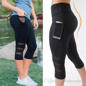 Calças Mulheres Leggings Sports cintura alta Yoga fitness Capri Com bolso colhido corrente estiramento de malha Calças FS5786