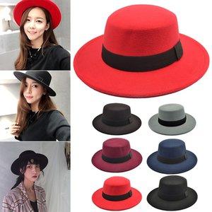 Nouvellement laine Hat Vintage British Wind Bow Hat chapeau plat pour le printemps Automne Hiver BF88
