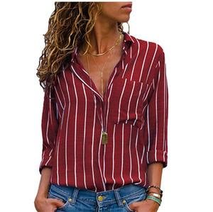Bahar Kadınlar Çizgili Baskılı Gömlek 5XL Seksi OL Kadın Yaka Boyun Bluzlar Moda Tasarımcısı Kadın Giyim