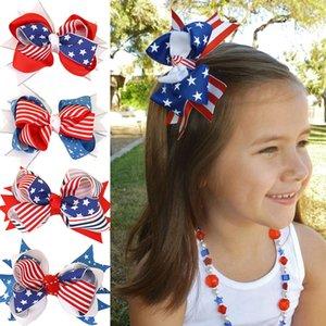 Американский флаг звезда полоса печать борьбы лук для волос День независимости Hairpins Bairbow с зажимом 4 июля Детские аксессуары для волос 16 стилей Z0692