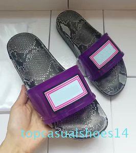 New Imitation Snakeskin Luxury Sandals PVC Clear Fashion Brand Designer Slides Mens Womens Outdoor Beach Luxury Slides Size 35-46 t14