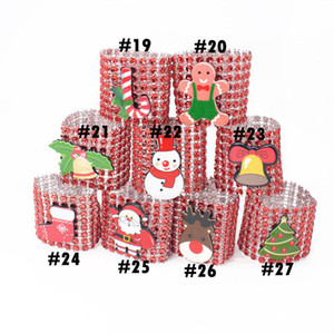 Noel Peçete Halkaları 27 Stiller Plastik Rhinestone Wrap Rings Sandalye Toka Otel Düğün Parti Malzemeleri OOA7268-2