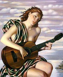 타마라 드 렘피카 누드 소녀의 연주 기타 홈 인테리어 지에 handpainted HD는 오일 캔버스 벽 예술 캔버스 그림 191128에 그림을 인쇄하기