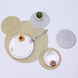 European Round Placemat With Gold Silver Sequin Cup Coaster Insulation Pad Table Decorative Accessories T200703