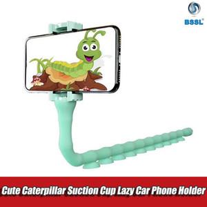 Carino Caterpillar pigro staffa Cell Phone Holder Worm presa flessibile del telefono della tazza di aspirazione polpo supporto del basamento per casa parete Desktop biciclette
