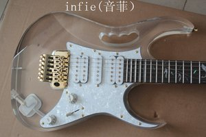 무료 배송 새로운 6 문자열 전기 기타 아크릴 투명 유기 유리 하프 바디 컬러 기타