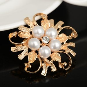 2pcs Rhinestone Crystal Wedding Bridal Brooch Bouquet Silver Flower Faux Pearl Brooch Pin Scarf Pin Wholesale Gift Free GE07042