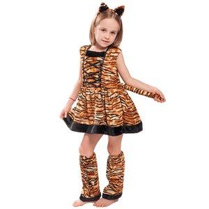 Kızlar Hayvan Kostüm İçin Masquerade Çocuk Elbise İçin Çocuklar Kaplan Kostüm Cosplay Halloween Hayvan Kostümleri