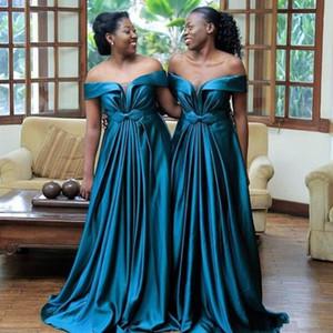 2020 Novo A Line Off ombro Plus Size Vestidos dama de honra vestidos de noite Mulheres formal do partido vestidos longos do vestido de casamento Visitante