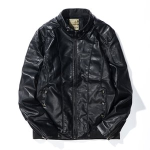 Erkek Motosiklet Deri Ceket Sonbahar Kış Siyah İnce Bombacı Deri Ceket Polar Sıcak PU Erkek Palto