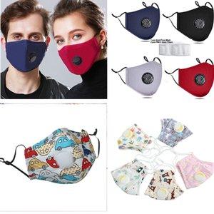 enfants masque facial avec filtre de bande dessinée Masques de visage Filtre lavable carbone reniflard face coton P2,5 Valve bouche masque anti-poussière Masque de protection