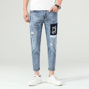 Large size Men Jeans Casual Straight Slim Fit Blue Jeans Stretch Denim Pants Trousers Classic Big Size 26-46 Hole Ankle pants