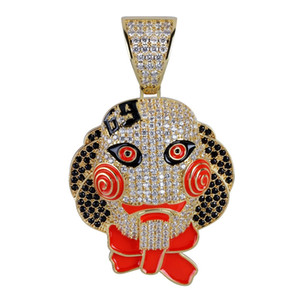 Bebek Kafa Maskesi Kolye Kolye Buzlu Out Kübik Zirkon Hip Hop Altın Gümüş Renk Erkek Kadın Charms Zincir Takı