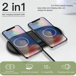 Double Chargeur sans fil Seat rapide QI 10W Pad de charge 2 en 1 chargeur de bureau pour iPhone 11 Pro X XS MAX XR pour Samsung S10 S9