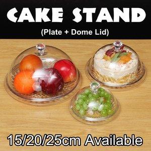 3 Tamaño de acrílico transparente redonda soporte de la torta categoría alimenticia de PC cubierta de polvo cubierta de cristal y la tapa de la placa de Alimentos para las bodas cumpleaños decoración