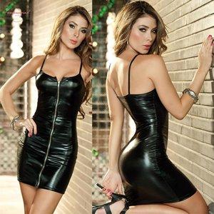 Il vestito sexy donne rivestono di pelle Bodycon Midi Pu ufficio Sexy Club Black Dress matita partito dei vestiti Vestidos Bretelle Stilisti