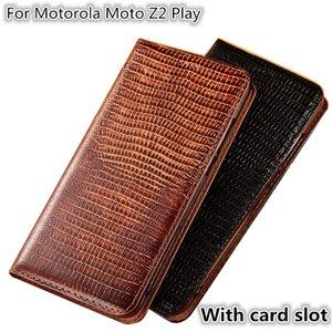 QX08 Patrón de lagarto Caja del teléfono magnético de cuero genuino para Motorola Moto Z2 Play Flip Case para Motorola Moto Z2 Juego Ranura para tarjeta de la bolsa del teléfono