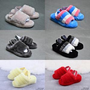 2019 новых женщин РГД Австралия Fluff Да Furry Скользящие Boots Модельер сандалии Fur Слайды Тапочки Слайды размер 36-400f39 #