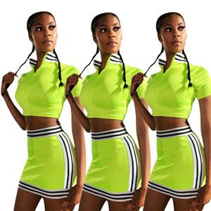 Tops Trajes Faldas de verano de rayas Diseñador sistemas de la ropa de las mujeres 2pcs Equipos juegos de falda de hierba corta