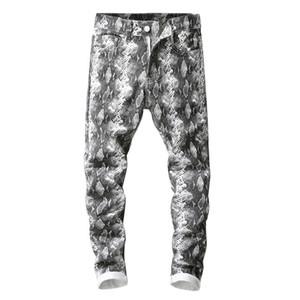 Mode Jeans Hosen Hip-Hop-Jogginghose Sokotoo Männer Schlangenhaut gedruckt graue Jeans Slim Fit Stretch-Hosen Bleistift