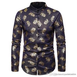 Paisley Print Designer Mens Shirt de luxe floral d'or Robe imprimée Hommes Shorts Mode Homme Styles Tops manches longues