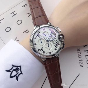 High quality All Sub-Dials Working Men's Watches Sports Stopwatch Top Brand Quartz Luxury Watch Leather Strap Wristwatches For Men best gift