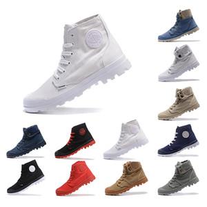 2019 PALLADIUM Zapatos de botines recién llegados para hombres mujeres Triple negro blanco Gris rojo Zapatillas de mezclilla lona de moda calzado informal tamaño 35-45