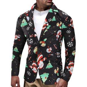 Мужские Рождественские Снеговик Конфеты Печатных Случайные Блейзеры Куртки Пальто Контрастный Цвет Slin Fit Мужской Моды Топы