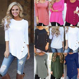 Nouveau Femmes Boutons Irréguliers Chemises Col Rond À Manches Longues Ourlet Boutons Chemise Chemisier T-shirt Vestidos Vêtements