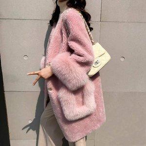 Bella philosophy 2020 spring women Faux Fair coats lady pockets single breastes Outwear outerwear female V-Neck fur jacket