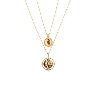 Moneda de oro retro del carácter de los collares pendientes para regalos de la joyería bohemia de las mujeres capa Mujer doble del partido collar al por mayor de DHL Beach