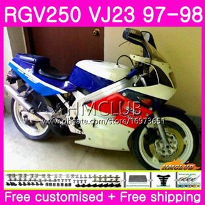 Bodys For SUZUKI SAPC RGV-250 VJ22 VJ21 RGV 250 97 98 99 Frame White Blue Top 19HM.49 RVG250 VJ23 RGV250 VJ 21 22 23 1997 1998 1999 Fairing