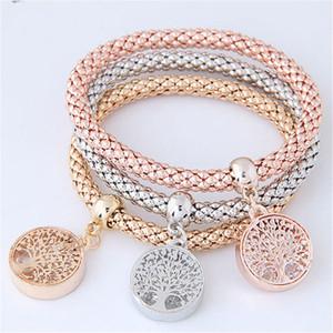 3pcs / set Árbol de la Vida de cristal pulsera de la joyería de lujo de las mujeres pulseras del encanto de las pulseras para los regalos de las mujeres Pulseria Feminina
