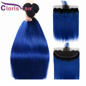 Trending Blau Ombre Menschliches Haar mit Spitze Frontal gerade Menschenhaar Malaysian Virgin Extensions Closure Farbiges 1B Blau Ombre Weave Bundles